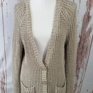 American Eagle tan neutral long duster cardigan